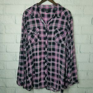 Torrid | Pink & Blk Plaid Button Down Blouse